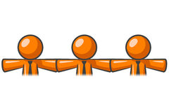 Three orange men in a row Royalty Free Stock Photo