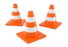 Three orange road cones Royalty Free Stock Image