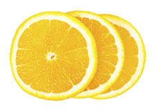 Three orange slices stacked on each other Royalty Free Stock Photography