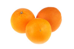Three oranges. Closeup studio photo of three oranges  nice and juicy isolated on white background Royalty Free Stock Photo