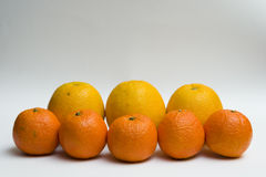 Three oranges and five clementines Royalty Free Stock Photo