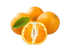 Three oranges with half. Closeup studio photo of three oranges with half  nice and juicy isolated on white background Stock Photos