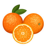Three oranges isolated on white. Royalty Free Stock Photo