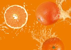 Three oranges. On an orange background Royalty Free Stock Photography