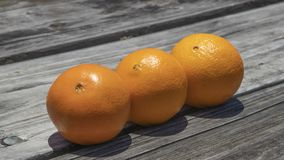 Three oranges sit in a row. Three oranges sit on a wooden picnic table in a row with the bright sunlight beaming down onto them from above stock images