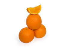 Three oranges and slice isolated Stock Image