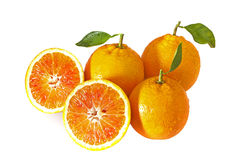 Three oranges with two halfs Royalty Free Stock Images
