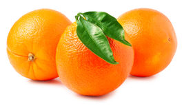 Three oranges on a white background Royalty Free Stock Images