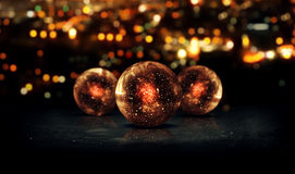 Three Orb Orange 3D Bokeh City Background Loop Animation. Digital art Royalty Free Stock Photos