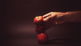 Three Organic Apples Royalty Free Stock Photography