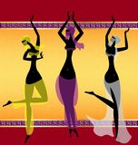 Three oriental girls dancing. On abstract background are three oriental girls dancing stock illustration