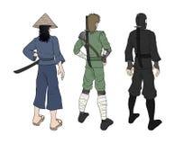 Three oriental warriors illustration. Design of three oriental warriors illustration Stock Images