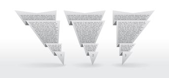 Three origami labels. Set paper labels with place for your text Stock Photography