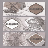 Three original bakery label templates with windmills, wheat and bread Royalty Free Stock Photos