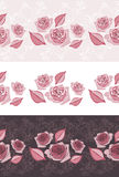 Three ornamental border with blooming stylized pink roses Stock Photos