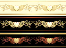Three ornamental borders. Vintage design Royalty Free Stock Photo