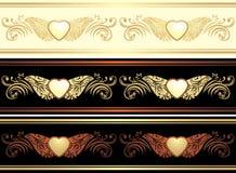 Three ornamental borders. Vintage design royalty free stock photo