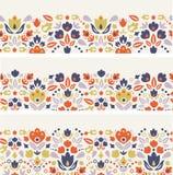 Three ornamental folk tulips horizontal seamless Stock Photo