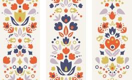 Three ornamental folk tulips vertical seamless Stock Photography