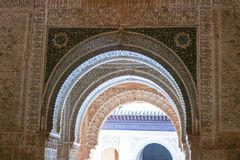 Three ornate arches at La Alhambra de Granada. Architectural details of three archways at La Alhambra. Ornate molding and detail work of with Islamic and Moorish Royalty Free Stock Image