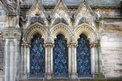 Three Blue Arched Stained Glass Windows Royalty Free Stock Image