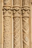 Three Ornate Circular Pillars Made of Stucco Royalty Free Stock Photos