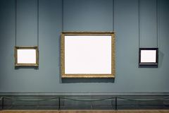 Three Ornate Picture Frames Art Gallery Museum Exhibit Blank Whi. 3 blank hanging individual frames in an art gallery museum exhibition template stock image