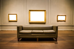 Three Ornate Picture Frames Art Gallery Museum Exhibit Blank Whi Stock Images