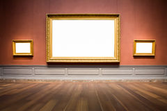 Three Ornate Picture Frames Art Gallery Museum Exhibit Blank Whi. Te  Clipping Path Royalty Free Stock Photo