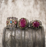 Three ottoman rings on grunge background. Stock Photography