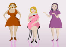 Three overweight ladies. Vector illustration of three overweight women Stock Photo