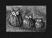 Three owls. Three black and withe owls Royalty Free Stock Photography