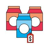 Three packages tag price products supermarket. Vector illustration stock illustration