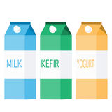 Three packs of dairy products. In different colors. milk blue pack. kefir green pack. yogurt yellow pack. tetra pack Royalty Free Stock Photo