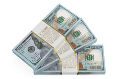 Three packs of dollars. Isolated on white background Royalty Free Stock Photo