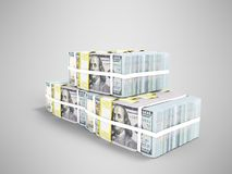 Three packs of hundred dollar bills in pyramid 3d render on gray. Background with shadow stock illustration