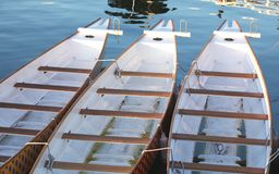 Three paddle boats in a row at a dock Stock Image