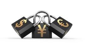 Three padlocks Stock Photo