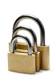 Three padlocks of different size Royalty Free Stock Image