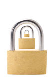 Three padlocks isolated on white background. First one in focus Royalty Free Stock Photography