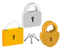 Three padlocks Royalty Free Stock Photo