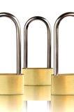 Three padlocks with shackle Royalty Free Stock Photo
