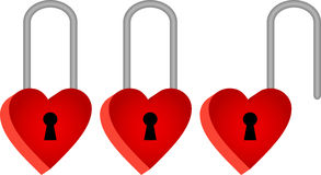 Three padlocks in shape of red hearts Royalty Free Stock Photos