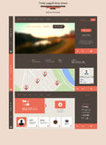 Three Page Drop Down Flat Website Template Stock Photos