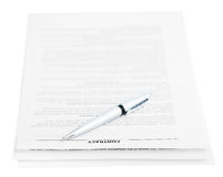 Three pages of contract and silver pen isolated Stock Images