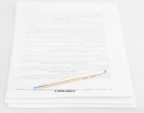 Three pages of sales contract and golden pen Stock Photo