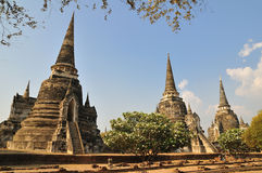 Three pagoda at Phra Nakhon Si Ayutthaya Stock Photo