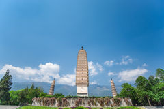 Three Pagodas of Chongsheng Temple Stock Images
