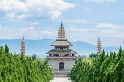 The Three Pagodas of Chongsheng Temple near Dali Old Town, Yunnan province, China. Royalty Free Stock Photography