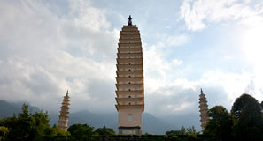 Three Pagodas. Three concluded by a small pavilion consisting of three. Chedi, also known as tower Chihiro, local people said it style tower, high 69.13 meters Stock Photo